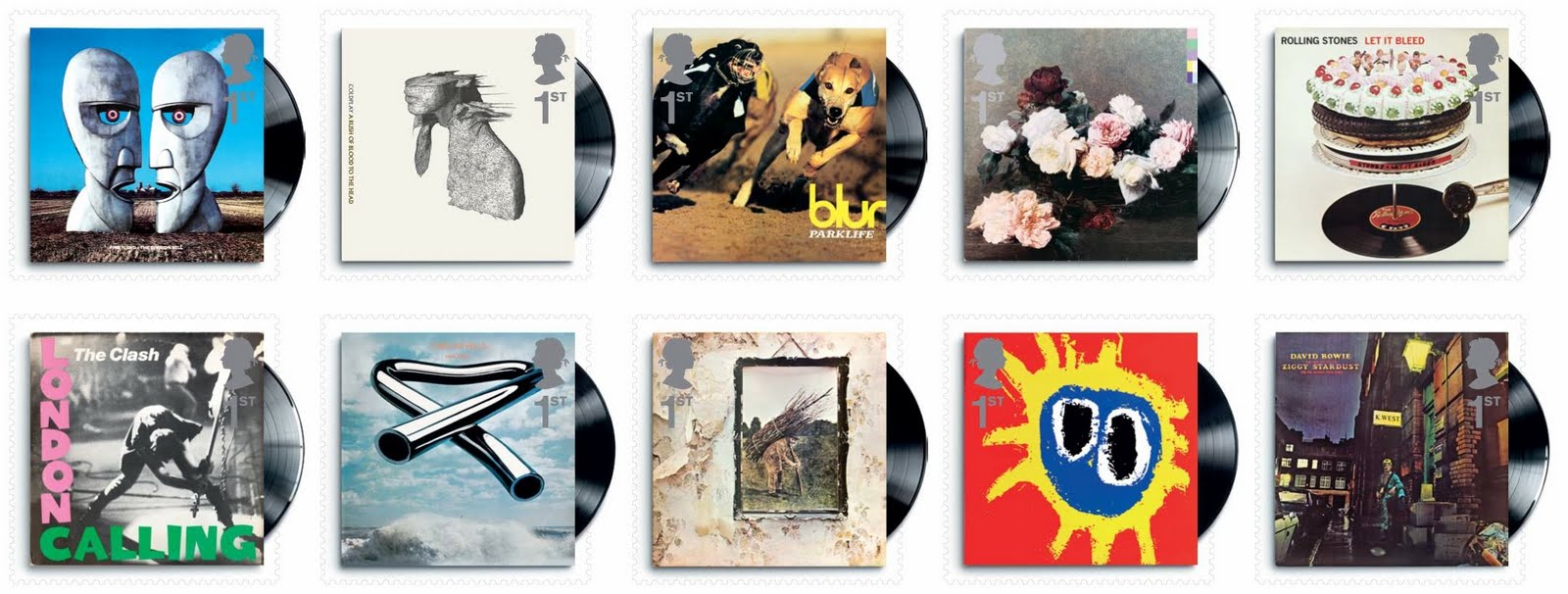 Classic British Album Covers by Blur, Primal Scream, and others to be Featured on Royal Mail Stamps