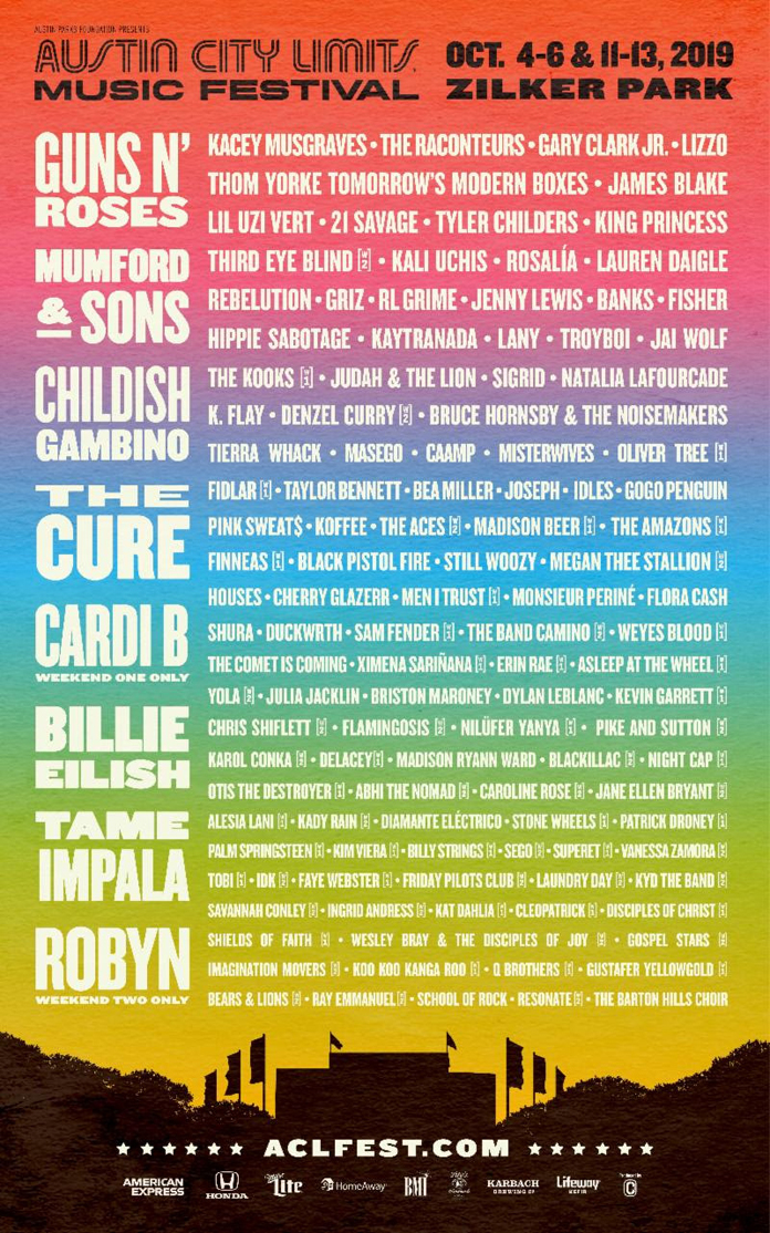 Austin City Limits 2019 Lineup: Tame Impala, Guns N' Roses, The Cure, Thom Yorke, and More