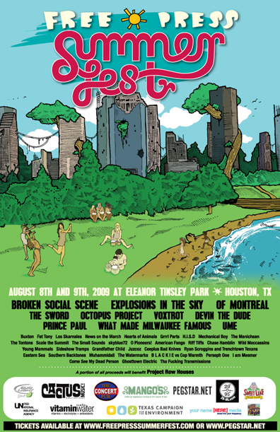 Free Press Summer Fest in Houston: Featuring Broken Social Scene, Of Montreal, Explosions in the Sky